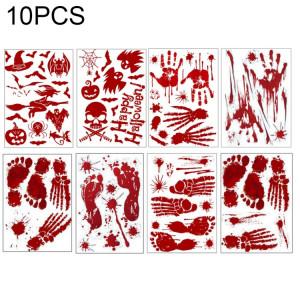 10 PCS Décorations d'Halloween PVC Creative Blood-print autocollants muraux autocollants fenêtre, taille: 25 * 30cm, livraison de style aléatoire SH6937718-20