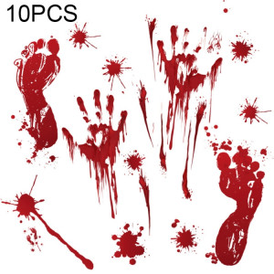 10 PCS Halloween Décorations PVC Creative Sang Empreintes De Main et Empreintes Autocollants Muraux Fenêtre Autocollants, Livraison De Style Aléatoire SH6949771-20