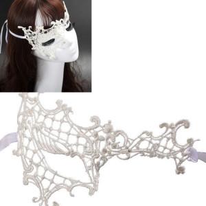Mascarade halloween party dance sexy lady masque de dentelle visage mi-yeux (blanc) SH965W64-20