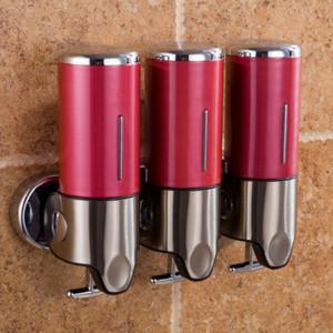 Triple Hotel Shower Distributeur Manuel Distributeur Mural de Lavage Liquide Shampooing Bouteille de Savon, Capacité: 1200 ml (Rouge) SH537R1578-20