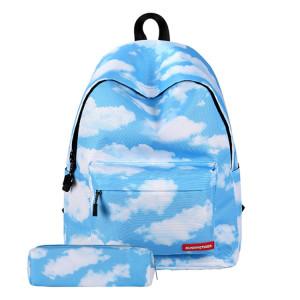 Sac à bandoulière d'école de sac à dos de voyage d'impression de modèle de nuage avec le sac de stylo pour des filles, taille: 40cm x 30cm x 17cm SH909C276-20