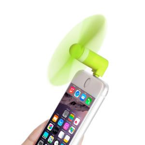 HAWEEL 3.5 pouces mode portable 8 broches USB téléphone Mini ventilateur avec deux feuilles, pour iPhone 7 et 7 Plus, iPhone 6 et 6 s, iPhone 6 Plus et 6 s plus, iPad Air (vert) SH030G1191-20