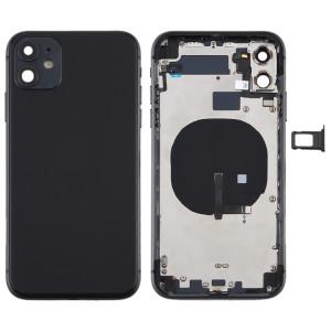 Couvercle arrière de la batterie (avec touches latérales et plateau de carte et câble d'alimentation + volume flexible et module de charge sans fil) pour iPhone 11 (noir) SH72BL1603-20