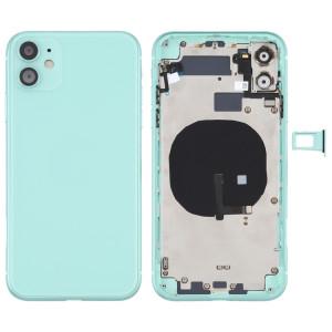 Couvercle arrière de la batterie (avec touches latérales et plateau de carte et câble d'alimentation + volume flexible et module de charge sans fil) pour iPhone 11 (vert) SH72GL749-20