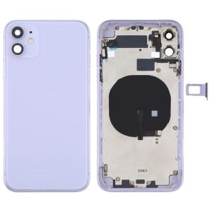 Couvercle arrière de la batterie (avec touches latérales et plateau de carte et câble d'alimentation + volume flexible et module de charge sans fil) pour iPhone 11 (violet) SH72PL768-20