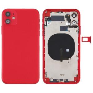Couvercle arrière de la batterie (avec touches latérales et plateau de carte et câble d'alimentation + volume flexible et module de charge sans fil) pour iPhone 11 (rouge) SH72RL607-20
