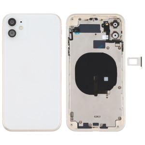 Couvercle arrière de la batterie (avec touches latérales et plateau de carte et câble d'alimentation + volume flexible et module de charge sans fil) pour iPhone 11 (blanc) SH72WL1789-20