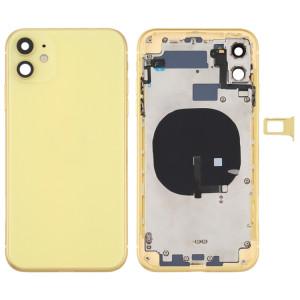 Couvercle arrière de la batterie (avec touches latérales et plateau de carte et câble d'alimentation + volume flexible et module de charge sans fil) pour iPhone 11 (jaune) SH72YL368-20
