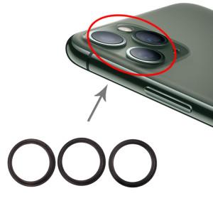 Anneau de cerceau de protection en métal pour lentille en verre de caméra arrière 3 PCS pour iPhone 11 Pro et 11 Pro Max (gris) SH016H576-20