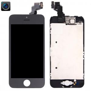 iPartsBuy 4 en 1 pour iPhone 5C (caméra frontale + LCD + cadre + pavé tactile) Assembleur de numériseur (noir) SI001B443-20