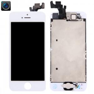 iPartsBuy 4 en 1 pour iPhone 5 (caméra frontale + LCD + cadre + pavé tactile) Assembleur de numériseur (blanc) SI000W1659-20