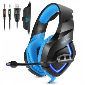 ONIKUMA K1B 3.5mm Plug USB stéréo LED Light Headphone avec microphone, pour PS4, Smartphone, Tablet, PC, ordinateur portable (Bleu) SO174L1734-20