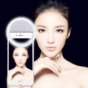 Chargeur Selfie Beauté Lumière, Pour iPhone, Galaxy, Huawei, Xiaomi, LG, HTC et autres téléphones intelligents avec clip réglable et câble USB (Blanc) SH394W1774-20