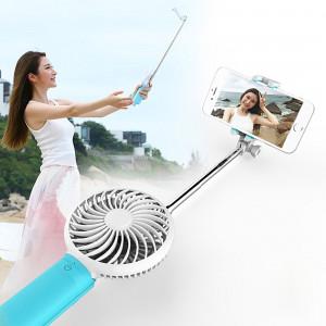 Ventilateur ventilateur portatif USB 2 en 1 avec trois vitesse du vent réglable + fil Monopode pliable Poche portative extensible Selfie Stick avec sangle de silicone, longueur pliée: 22cm, longueur max. De SV400L1636-20