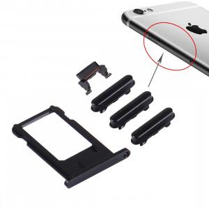 iPartsBuy 4 en 1 pour iPhone 6s Plus (plateau de carte + touche de contrôle du volume + bouton d'alimentation + touche de vibreur interrupteur muet) (Noir) SI901B1367-20