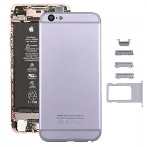 iPartsAcheter 5 en 1 pour iPhone 6s (couverture arrière + porte-cartes + touche de contrôle du volume + bouton d'alimentation + touche de vibreur interrupteur muet) couvercle du boîtier Assemblée complète (gris) SI36HL1517-20