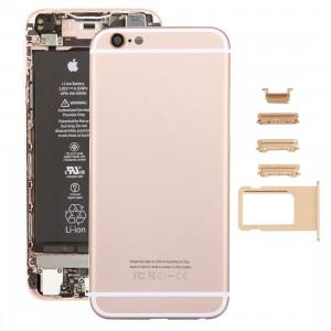 iPartsAcheter 5 en 1 pour iPhone 6s (couverture arrière + porte-cartes + touche de contrôle du volume + bouton d'alimentation + touche de vibreur interrupteur muet) pleine couverture de boîtier d'Assemblée (or) SI36JL1609-20