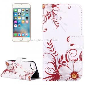 Pour iPhone 8 & 7 Flower Buds Pattern Étui en cuir avec porte-cartes et fentes pour cartes et porte-monnaie SP006C2-20