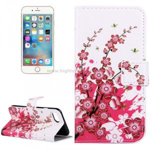 Pour iPhone 8 et 7 Plum Blossom Pattern Étui en cuir avec porte-cartes et fentes pour cartes et porte-monnaie SP006D4-20