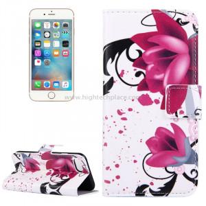 Pour iPhone 8 et 7 Lotus Pattern Étui en cuir avec porte-cartes et fentes pour cartes et porte-monnaie SP006F8-20
