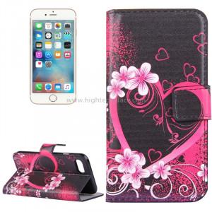 Pour iPhone 8 et 7 Peach Blossom Heart Pattern Étui en cuir avec porte-cartes et fentes pour cartes et porte-monnaie SP006G6-20