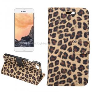 Pour iPhone 8 et 7 Leopard Motif Horizontal Flip étui en cuir avec support et fentes de cartes et porte-monnaie (Brun) SP110Z637-20