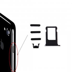 iPartsBuy pour iPhone 7 plateau de carte + touche de contrôle du volume + bouton d'alimentation + touche de vibreur interrupteur muet (noir) SI520B356-20