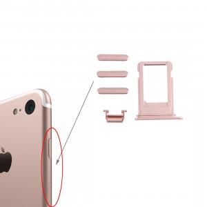 iPartsAchetez pour le plateau de carte d'iPhone 7 + la clé de contrôle de volume + le bouton d'alimentation + la touche vibrante de commutateur de muet (or rose) SI20RG748-20