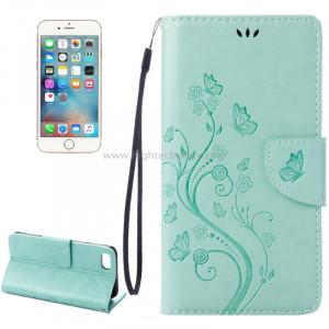 Pour iPhone 8 & 7 Pressed Flowers Etui à rabat en cuir horizontal avec porte-cartes et fentes pour cartes (vert) SP222G8-20