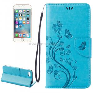 Pour iPhone 8 & 7 Pressed Flowers Etui à rabat horizontal en cuir avec porte-cartes et fentes pour cartes (bleu) SP222L2-20