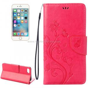 Pour iPhone 8 & 7 Pressed Flowers Etui à Rabat Horizontal en Cuir avec Porte-cartes et Slots & Porte-cartes (Magenta) SP222M9-20