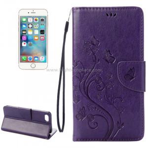 Pour iPhone 8 & 7 Pressed Flowers Etui à rabat en cuir avec porte-cartes et porte-cartes (Violet) SP222P8-20