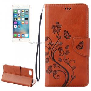 Pour iPhone 8 & 7 Pressed Flowers Etui à rabat en cuir horizontal avec porte-cartes et fentes pour cartes (marron) SP222Z3-20