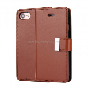 MERCURE GOOSPERY RICH JOURNAL pour iPhone 8 et 7 PU + TPU Crazy Horse Texture Etui à rabat en cuir avec fentes et porte-cartes (marron) SM987Z1356-20
