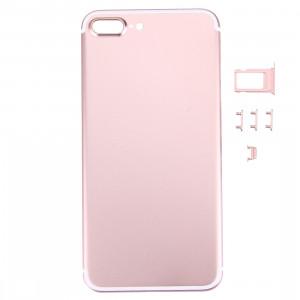 iPartsBuy 5 en 1 pour iPhone 7 Plus (couverture arrière + porte-cartes + touche de contrôle du volume + bouton d'alimentation + touche de vibreur interrupteur muet) couvercle du boîtier Assemblée complète (or rose) SI71RG81-20