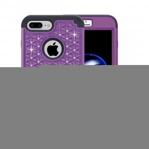 Pour iPhone 8 Plus et 7 Plus 3 en 1 Diamant Incrusté PC + Silicone Combination Case (Violet + Noir) SF00PB385-20