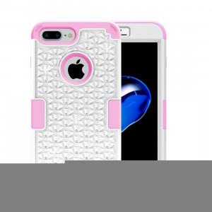 Pour iPhone 8 Plus et 7 Plus 3 en 1 Diamant incrusté PC + Silicone Combination Case (Blanc + Rose) SF00WF1430-20