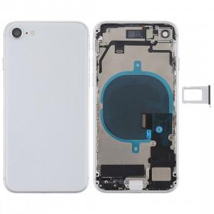 Batterie couvercle arrière avec touches latérales et vibrateur et haut-parleur fort et bouton d'alimentation + bouton de volume Câble câble et bac à cartes pour iPhone 8 (Argent) SH57SL1586-20