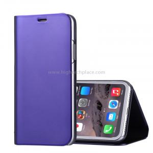 Pour iPhone X Etui à galvanoplastique Horizontal Housse en cuir Flip avec support (Violet) SP591P0-20