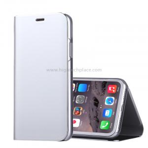 Pour iPhone X Miroir électrolytique Housse horizontale en cuir Flip avec support (Argent) SP591S2-20