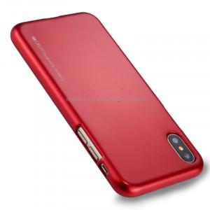 GOOSPERY MERCURY i JELLY pour iPhone X Métal et peinture à l'huile Soft TPU Housse de protection arrière (Rouge) SG864R3-20