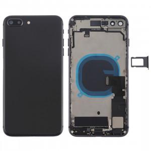 Couvercle de la batterie avec touches latérales et vibrateur et haut-parleur fort et bouton d'alimentation + bouton de volume Câble et plateau de carte pour iPhone 8 Plus (Noir) SH24BL1645-20