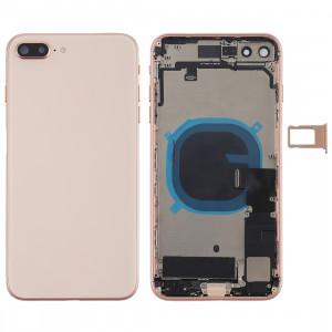 Couvercle de la batterie avec touches latérales et vibreur et haut-parleur fort et bouton d'alimentation + bouton de volume Câble et bac à cartes flexibles pour iPhone 8 Plus (or rose) SH4RGL799-20