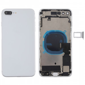 Couvercle de la batterie avec touches latérales et vibreur et haut-parleur fort et bouton d'alimentation + bouton de volume Câble et plateau de carte pour iPhone 8 Plus (Argent) SH24SL514-20