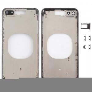 Coque arrière transparente avec objectif d'appareil photo, plateau de carte SIM et touches latérales pour iPhone 8 Plus (noir) SH204B411-20