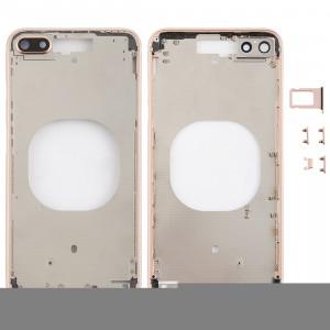 Coque arrière transparente avec objectif d'appareil photo, plateau de carte SIM et touches latérales pour iPhone 8 Plus (or) SH204J616-20