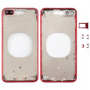 Coque arrière transparente avec objectif d'appareil photo, plateau de carte SIM et touches latérales pour iPhone 8 Plus (rouge) SH204R1900-20