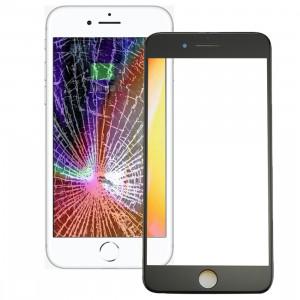 iPartsAcheter pour l'iPhone 8 Plus lentille extérieure de verre d'écran avant avec le cadre avant d'écran d'affichage à cristaux liquides et l'adhésif optiquement clair d'OCA (noir) SI666B726-20