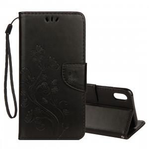 Étui à rabat horizontal avec motif papillon en relief avec fente pour carte et porte-monnaie et porte-monnaie pour iPhone XS Max (noir) SH014B1364-20