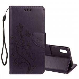 Étui à rabat horizontal en cuir avec motif papillon en relief, porte-cartes, porte-monnaie et porte-monnaie pour iPhone XS Max (violet foncé) SH14DZ1062-20